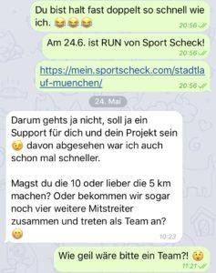 Dieser Screenshot zeigt, wie ernst Basti das meint mit der Unterstützung meines Sport-Daseins. ©Nina-Carissima Schönrock