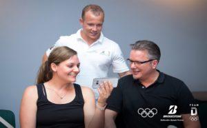 Heimliche Sieger zu Gast in Mannheim: Meine Wenigkeit mit Fabian Haibächen und Ronny (v.l.) ©Bridgestone