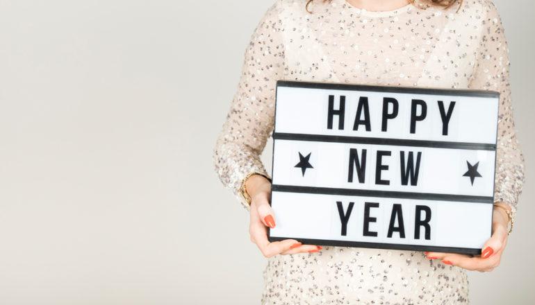 Schild, Happy New Year, Gute Vorsätze 2019